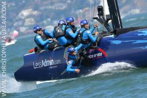 Less Admin branding looking good on the side of the San Francisco team's boat. Photo taken by Christophe Favreau.