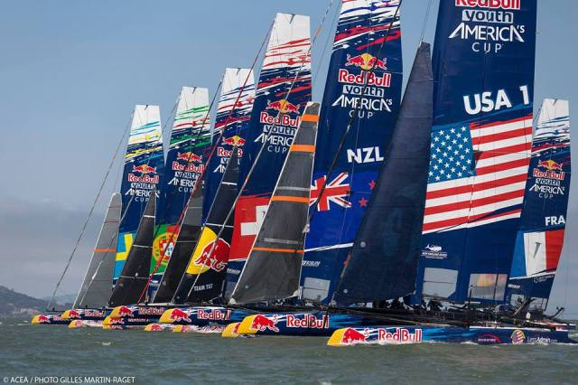 The fleet of boats racing for the Red Bull Youth America's Cup. (Photo courtesy of ACEA and Gilles Martin-Raget)