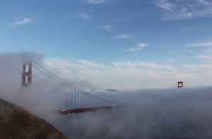 "One of our enormous number of ""bridge shrouded in fog"" shots"