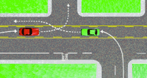 A turning lane.  Pessimistically viewed as an opportunity for a collision.