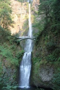 Multnomah Falls. There are so many waterfalls littered along the Columbia River Gorge that this one's visible from the car park.