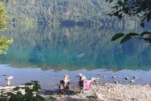 The boys had breakfast on the shore of Lake Crescent.