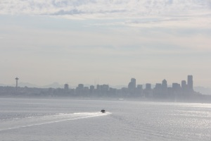 The Seattle skyline from the morning ferry