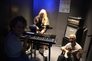 Jamming together in a tiny room. We murdered Heart and Soul, but it was enormous fun.