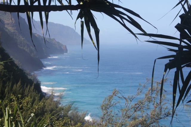 The gorgeous Na Pali coast, taken while hiking the Kalalau trail