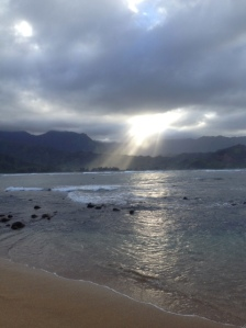 Hanalei Bay on a cloudy evening