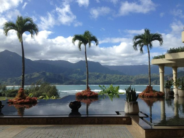 The view of Hanalei Bay from the hotel
