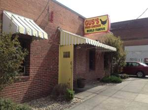 This unassuming exterior hides Gus's World Famous Fried Chicken. and it was heaving