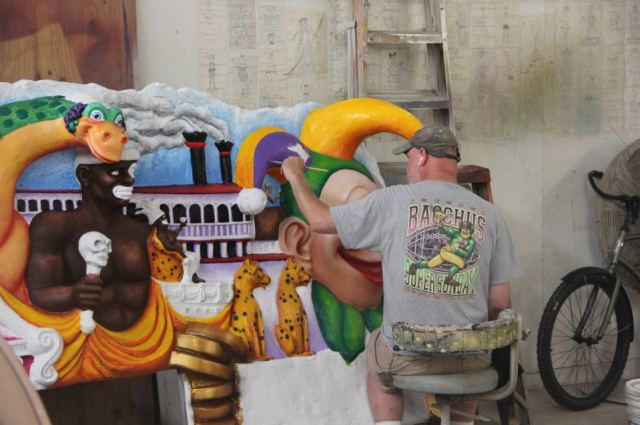 ... and painted according to a krewe's theme.