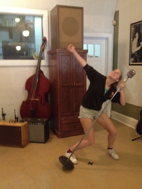 Rocking out in Sun Studio.  X marks the spot where Elvis stood to record.