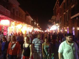 Busy Bourbon St in the French Quarter