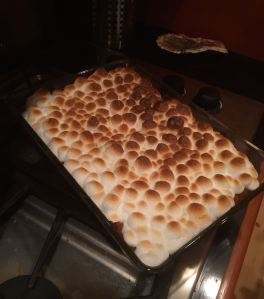 Mashed sweet potatoes with toasted marshmallows