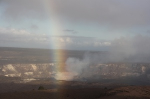 Halema'uma'u Crater, a small blip in the Kilauea caldera, looking as if it can shoot rainbows from the centre of the earth.