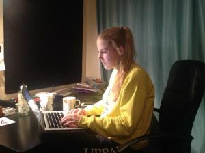 Gabriella's working on an essay